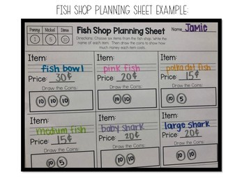 Counting Coins Money Activity - Fish Shop Edition