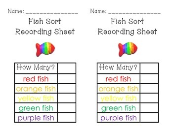 Fish Sorting, Counting, and Graphing Set