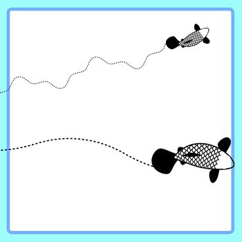 Fish Swimming Tracing Lines - Left to Right / Pencil Control Dashed or Dotted
