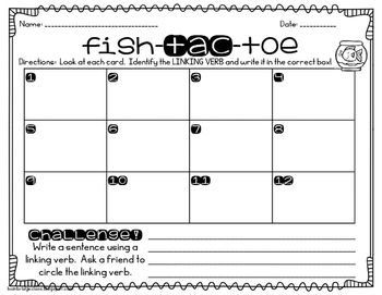 Fish-Tac-Toe- Identifying Linking Verbs Game or Hall Hunt