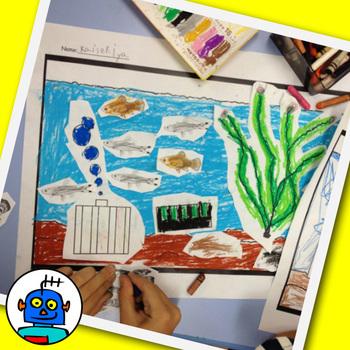 Fish Tank Art Craft -  fish, tank, air pump, gravel, plant
