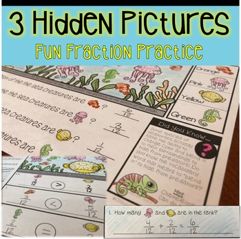 Fraction Fish Tank Hidden Pictures: Identify, Compare, Add & Subtract
