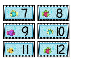 Fish Themed Cubby Labels 1-36