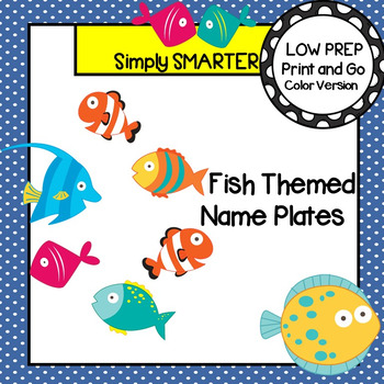 Fish Themed Desk Name Plates with Alphabet and Numbers (1-20)