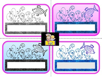 Fish Themed -  Glitter Labels - Back to school