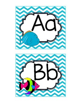 Fish Themed Word Wall Alphabet with Blue Chevron Pattern: