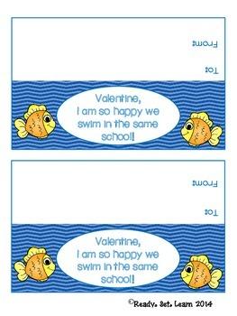 Fish Valentine's Day Treat Bag Topper