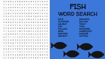 Fish Word Search; FACS, Culinary Arts, Bellringer, Seafood, Ocean, Marine