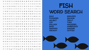 Fish Word Search; FACS, Culinary Arts, Bellringer, Seafood, Ocean, Marine