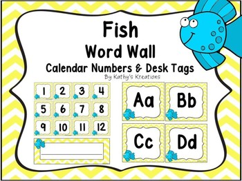 Fish Word Wall, Calendar Numbers & Desk Plates