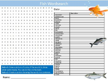 Fish Wordsearch Puzzle Sheet Keywords Activity Animals The Sea