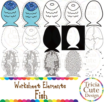 Dot to Dot Clip Art Fish Worksheet Elements for Tracing Cutting Puzzle
