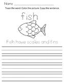 Fish Writing Worksheet