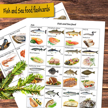 Fish and Sea Food Flashcards (vocabulary worksheet)