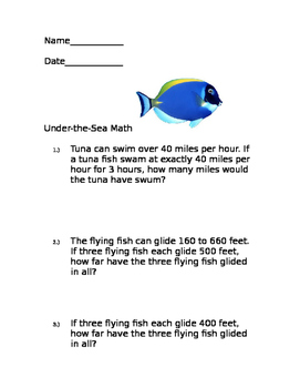 Fish and Shark Word Problems
