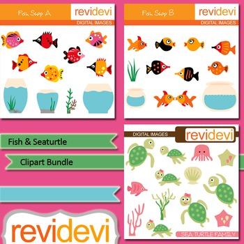 Fish, aquarium, sea turtle clip art bundle (3 packs)