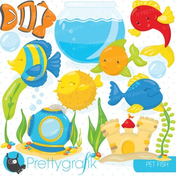Fish bowl animals clipart commercial use, vector graphics, digital - CL715