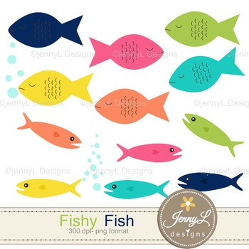 Fish digital paper and clipart
