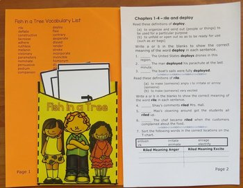 Fish in a Tree Novel Study: vocabulary, comprehension, writing, skills