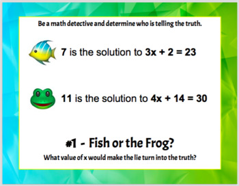 Fish or the Frog? Solving Two Step Equations Truth or Lie Task Cards