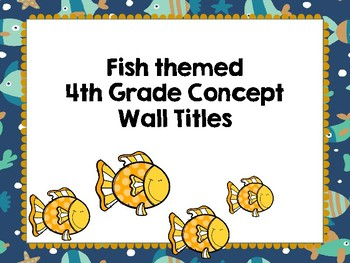 Fish themed 4th grade concept wall titles in Spanish