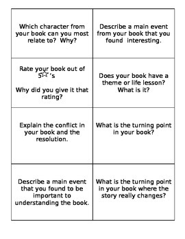 Fishbowl Book Discussion cards