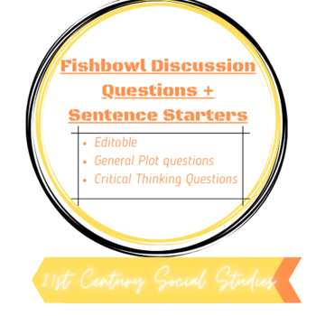 Fishbowl Reading Questions and Sentence Starters for Discussion