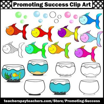 Fishbowl and Fish Clip Art for Pets Unit, Beach Theme or Ocean Unit SPS