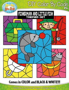 Fisherman and the Little Fish Color By Code Clipart {Zip-A-Dee-Doo-Dah Designs}
