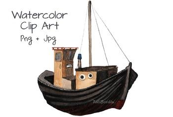 Fisherman's Boat Watercolor Clip Art