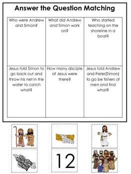 Fishers of Men Answer the Question printable game. Prescho