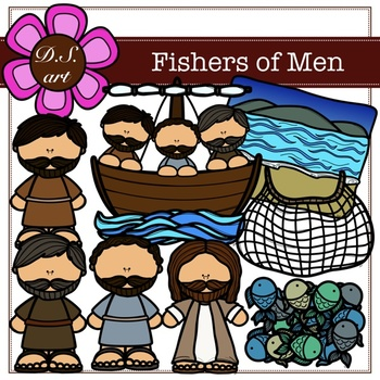 Fishers of Men Digital Clipart (color and black&white)