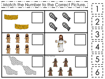 Fishers of Men Match the Number printable game. Preschool Bible Study Curriculum