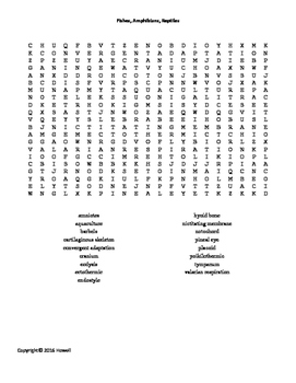 Fishes, Amphibians, and Reptiles Word Search for Middle Sc