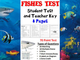Fishes Chapter Test and Teacher Key (Biology / Zoology)