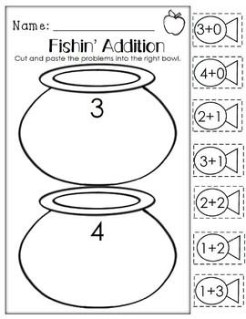 Fishin' Addition. Kindergarten/First Grade. Cut and Paste Addition.