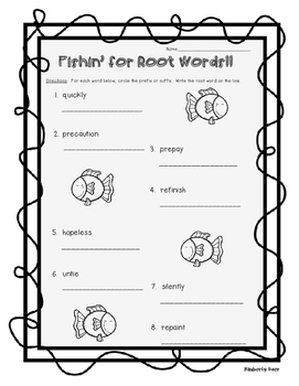 Fishin' For Root Words Prefix and Suffix Activity Pack--3 pages!
