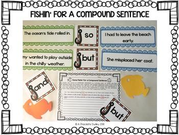Fishin' For a Compound Sentence / Grammar Activity
