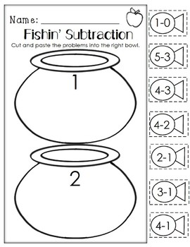 Fishin' Subtraction. Kindergarten/First Grade. Cut and Paste Addition.