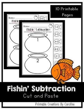 Fishin' Subtraction. Kindergarten/First Grade. Cut and Pas