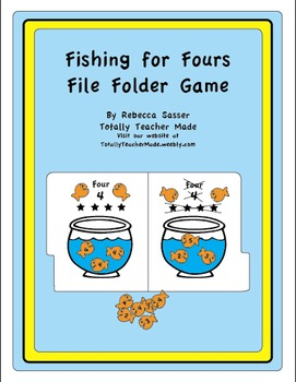Fishin' for Fours Folder Game - Black and White