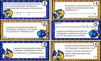 Fishin' for Fractions and Decimals:TEKS 4.2H,G, 4.3A,C,G; CC 4.NF.A.1, B.3b, C.6