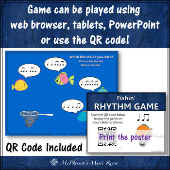Music Game: Eighth Notes & Quarter Notes Interactive Rhythm Game {Fishin'}