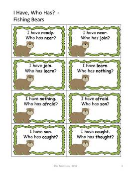 """Fishing Bears """"I HAVE, WHO HAS?"""" Sight Word Practice for Harcourt Trophies"""