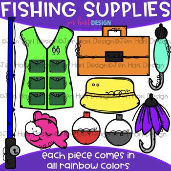 Fishing Clip Art - Rainbow Fishing Supplies Clipart {jen hart Clip Art}