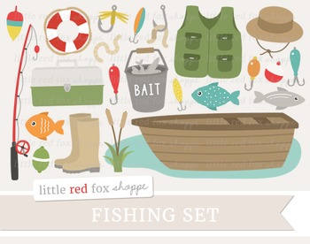 Fishing Clipart; Boat, Fish, Pole, Lure, Hat, Pail, Bit, L