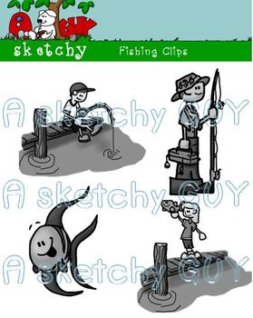 Fishing Clips / Graphics - 300dpi Color, Grayscale, Black Lined