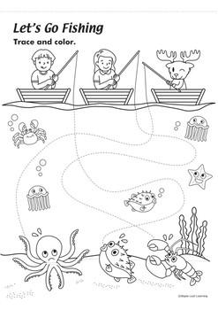 Fishing Coloring Worksheet