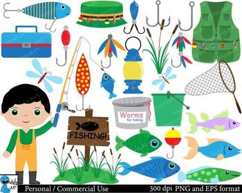 Fishing Digital Clip Art Graphics 104 images cod98