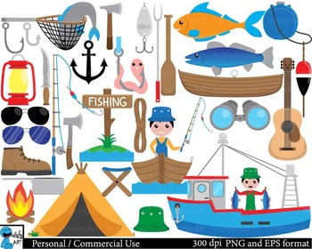 Fishing Digital Clip Art Personal Commercial Use 117 image
